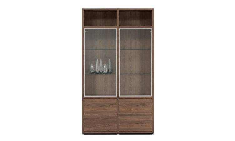 Display Cabinets Lecco Walnut Veneer Clear Glass