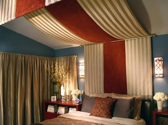 Diy Bed Canopy Drapes Red Brown Striped