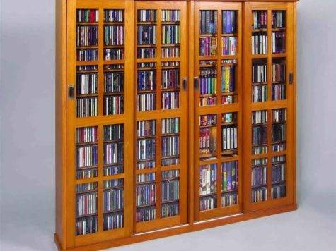 Door Glass Dvd Wall Media Storage Cabinet