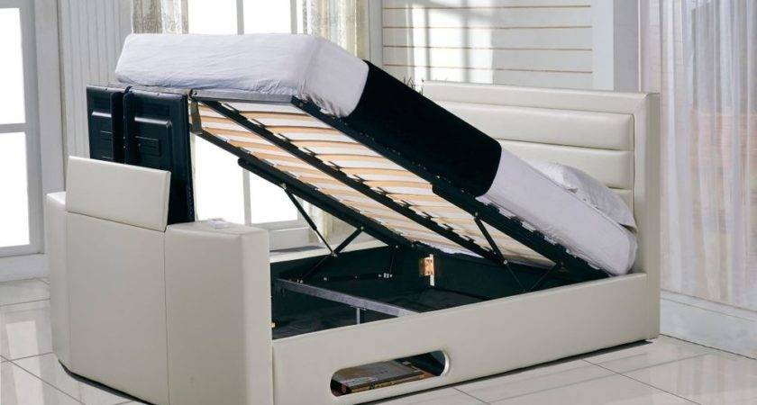 Double Miami Ottoman Bed Ivory Faux Leather