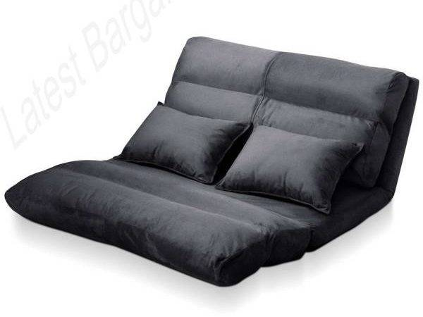 Double Sofa Bed Lounge Flocking Fabric Adjustable Low