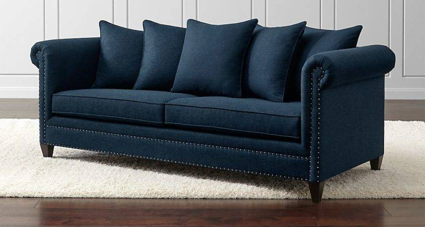 Durham Navy Blue Couch Nailheads Crate Barrel