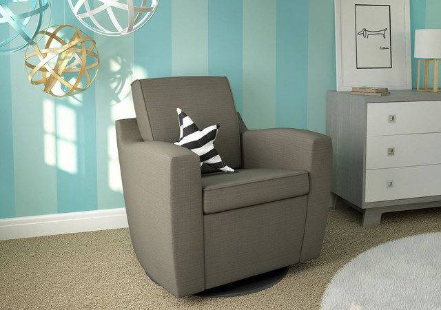 Dutailier Mocha Upholstered Swivel Glider Contemporary