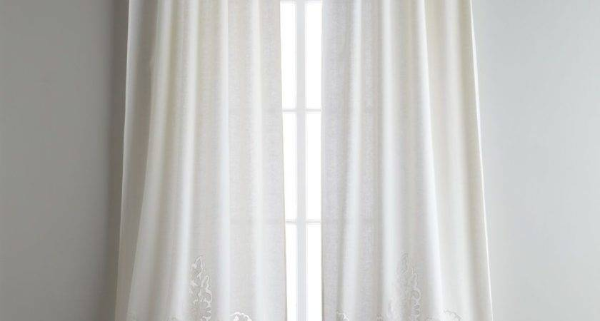 Each Caprice Tie Top Curtain Pearl Ivory Pom