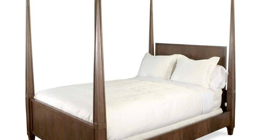 Eadie Rustic Modern Four Poster Walnut Bed Queen Kathy
