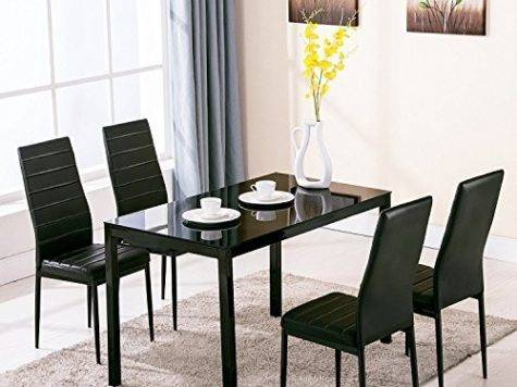 Ebs Brand Modern Faux Marble Glass Dining Table Set