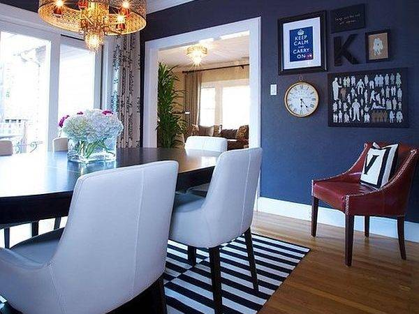 Eclectic Dining Room Navy Blue Decoist