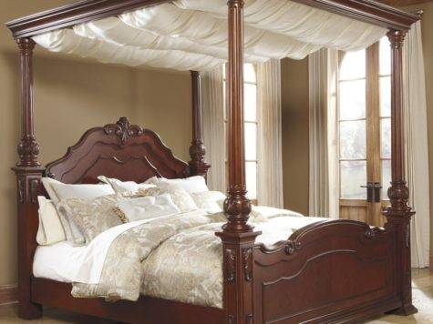 Elegant Canopy Bed Curtains King Majestic Cream Color