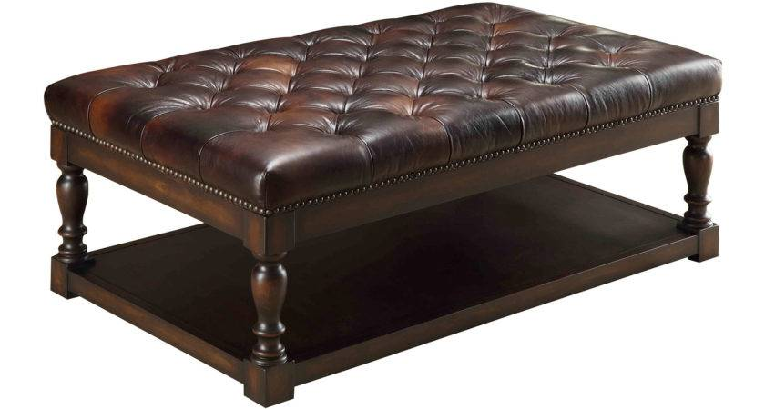 Elegant Leather Ottoman Coffee Table Home Decorations