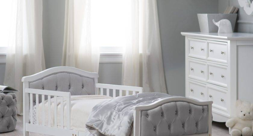 Elegant White Toddler Bed Buttoned Footboard