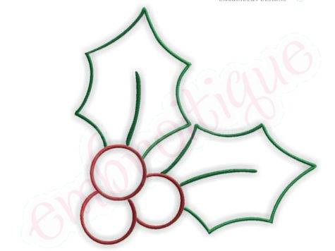 Embroitique Simple Christmas Holly Embroidery Design Small