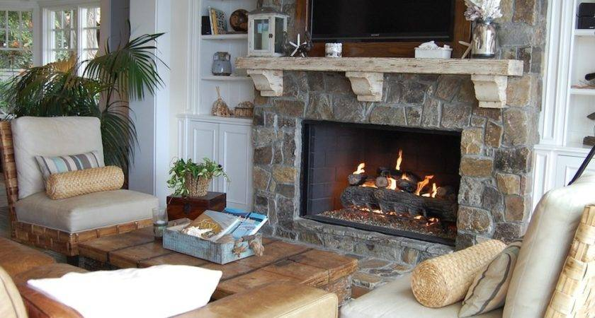 Fireplace Ideas Stone Living Room Beach