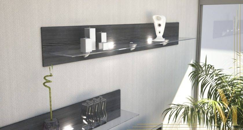 Floating Glass Shelf Unit Wall Mounted Shelves Bari