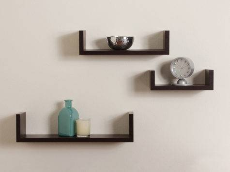 Floating Shaped Shelves Walnut Brown Finish Set