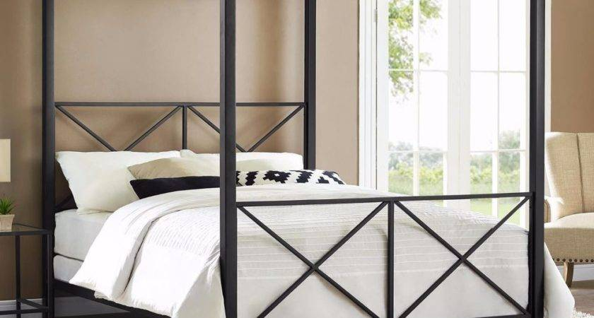 Four Poster Bed Frame Queen Canopy Black Modern