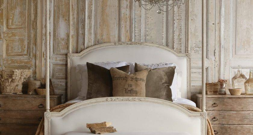 Four Poster Canopy Wood Bed Frame Antique White