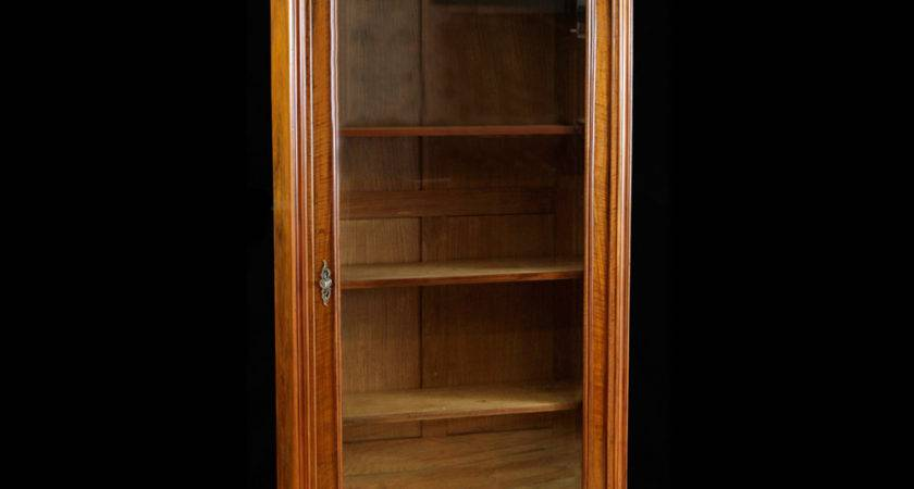 French Antique Bookcase Walnut Glass Panel