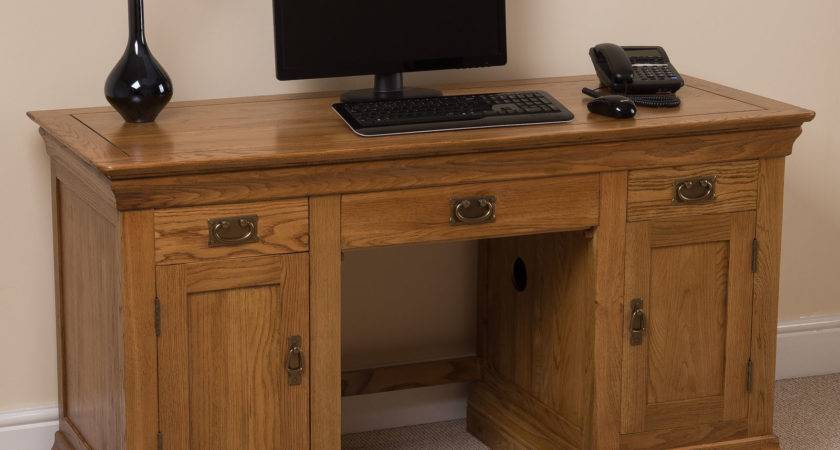 French Rustic Solid Oak Large Computer Desk Office Studio