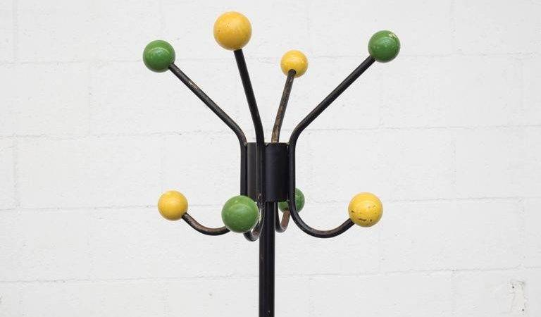French Style Coat Rack Colored Wood Ball Hooks