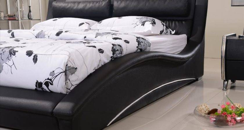 Furniture Bedroom Confortable Black Leather Headrest Bed