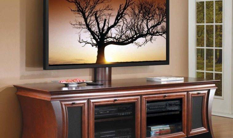 Furniture Curved Brown Big Screen Stand Mount