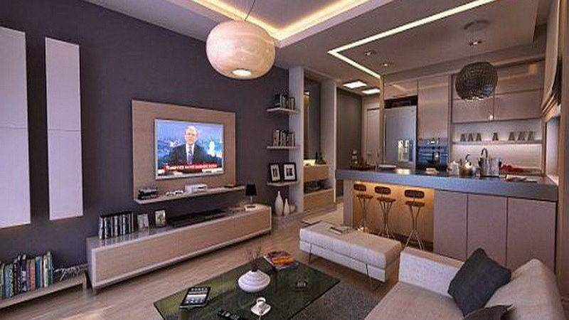 Furniture Open Space Living Room Bachelor Apartment