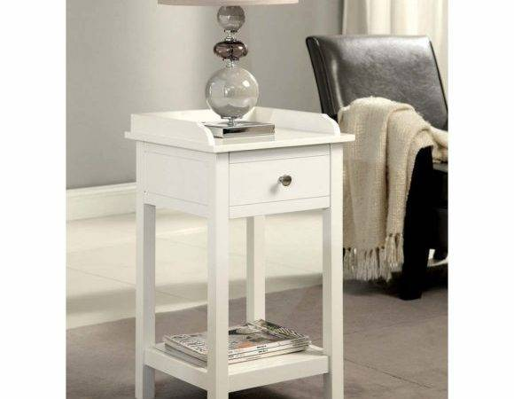 Furniture Small Round White Drum End Table Two