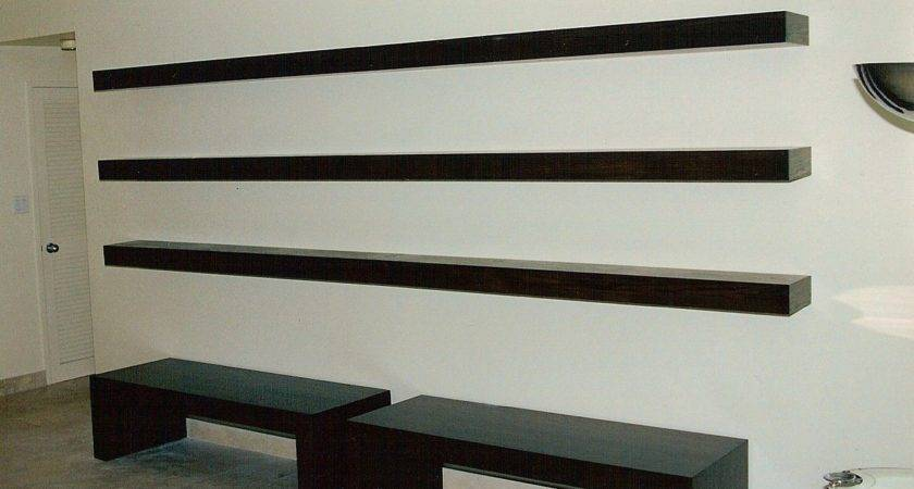 Furniture White Wooden Floating Media Shelves
