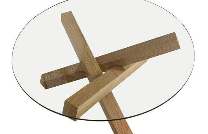 Furnitures Round Glass Coffee Table Wood Base Sets