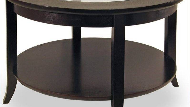 Genoa Round Wood Coffee Table Glass Top Dark