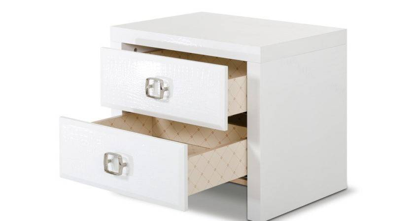 Glam Modern White Crocodile Nightstand