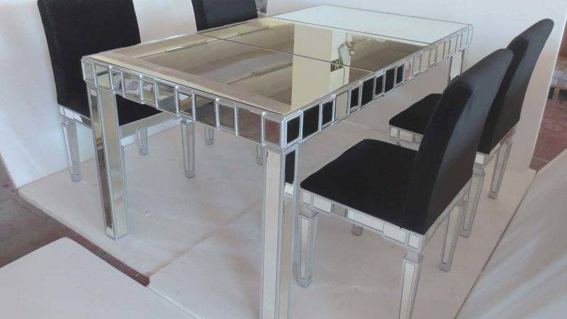 Glass Mirrored Dining Table Chair