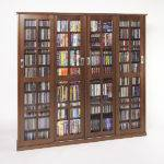 Glass Sliding Door Dvd Multimedia Cabinet Walnut Ebay