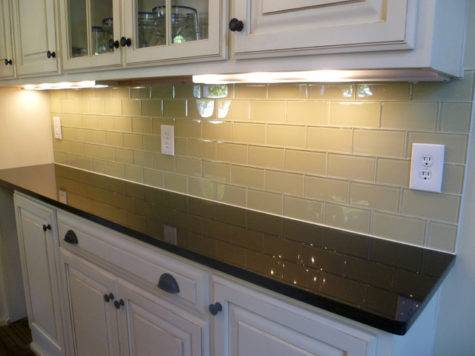Glass Subway Tile Kitchen Backsplash Contemporary