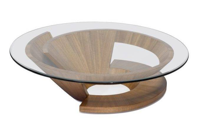 Glass Wood Table Round Coffee Base Unique