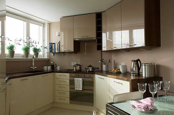 Glossy Cafe Lait Upper Cabinets Small Space Kitchen