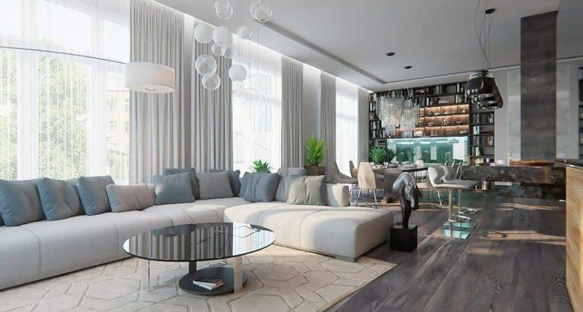 Gorgeous Open Concept Living Room Contemporary Style