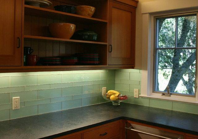 Green Glass Kitchen Backsplash Mill Valley Modern