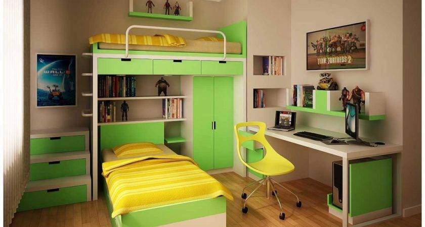 Green Yellow Minimalist Bookcase Teen Room