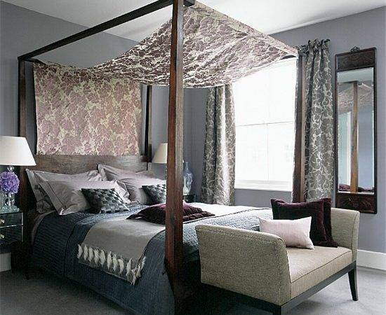 Grey Bedroom Flock Fabric Canopy Gorgeous