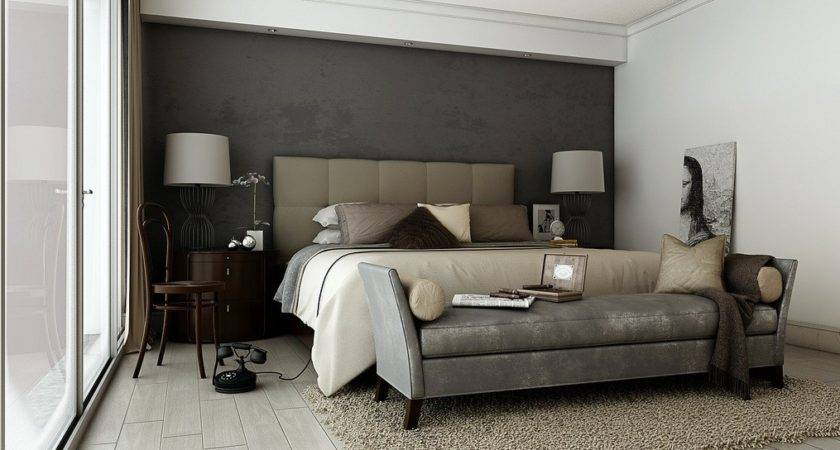 Grey Brown Taupe Sophisticated Bedroom Design Sofa Bed