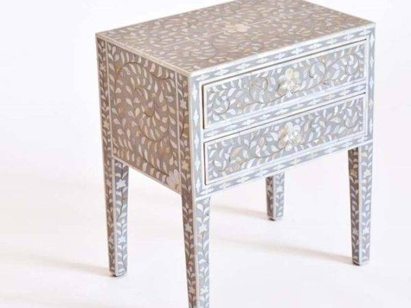 Grey Mother Pearl Bedside Table Long Leg