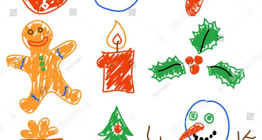 Hand Drawing Christmas Decorations Santa Snowman