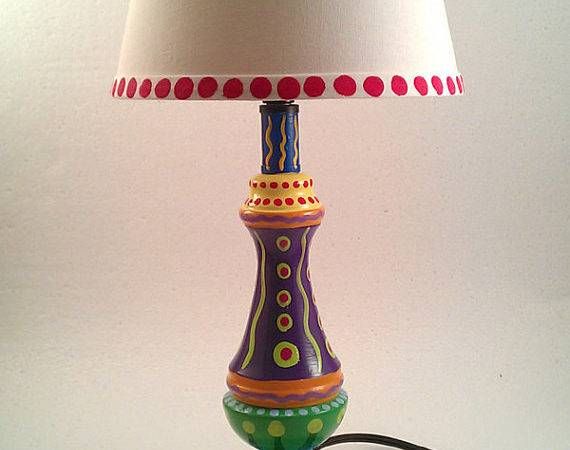Hand Painted Lamp Crazy Colors Lisafrick Etsy
