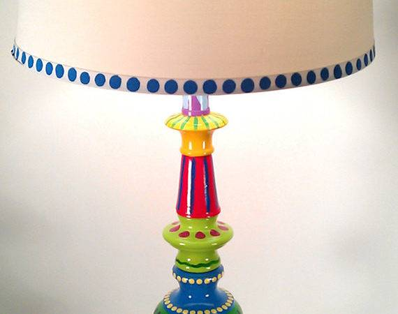 Hand Painted Table Lamp Fun Funky Whimsical Crazy