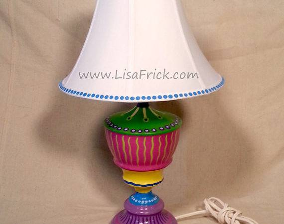 Hand Painted Table Lamp Shade Fun Funky Whimsical