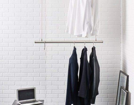Hanging Clothes Rack Ceiling Mounted Design Rail