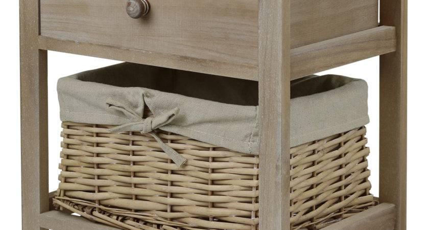 Hartleys Brown Shabby Chic Bedside Cabinet Table Wicker