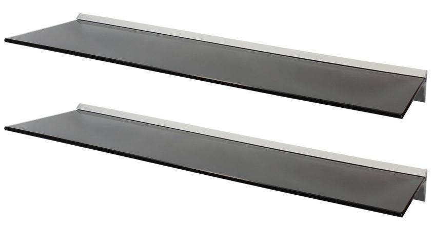 Hartleys Pair Black Floating Glass Wall Shelves