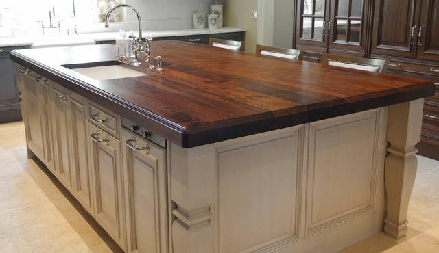 Heritage Wood Island Black Walnut Modern Kitchen